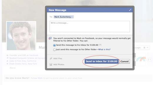 Ahora puedes pagar 100 dólares para enviarle un correo a Mark Zuckerberg desde tu cuenta de facebook.