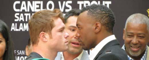 Canelo Álvarez derriba a Austin Trout en el round 7 y casi lo noquea