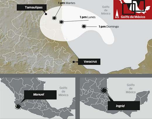 Huracán Ingrid y Tormenta Manuel ingresan en México