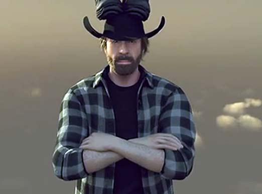 Chuck Norris Split (aviones), pino de navidad en su cabeza