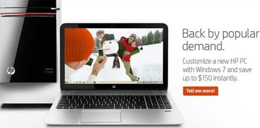 HP con Windows 7, vuelve por demanda popular