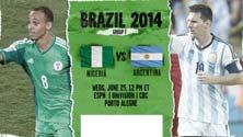 Argentina contra Nigeria, juego del Miércoles