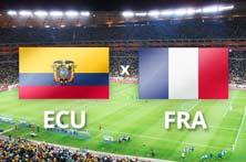 Ecuador enfrenta a Francia juego del 25 de Junio
