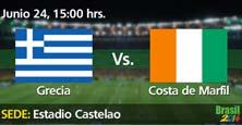 Grecia contra Costa de Marfil dos equipos enfrentados