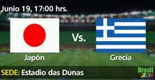 Japón enfrenta a Grecia en el cierre de la jornada