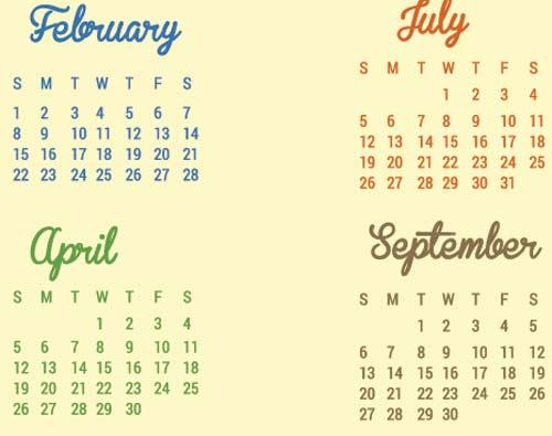 Vectores de Calendarios