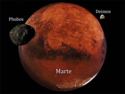Phobos, es un satélite natural del planeta Marte. Se considera que para el 2039 se pueda pisar su suelo por primera vez.